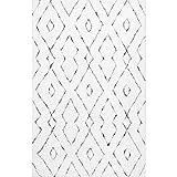 nuLOOM Lauren Lattice Shag Rug, 8' Square, White