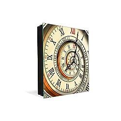 Concept Crystal 50 Keys Holder with Glass Magnetic Dry Erase Board K10 Antique Clock Spiral