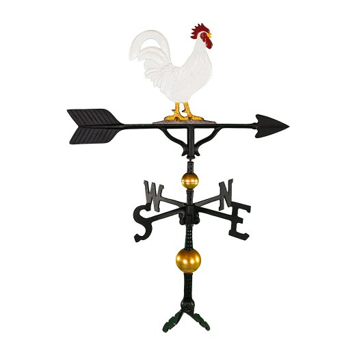 Montague Metal Products 32-Inch Deluxe Weathervane with Color Rooster Ornament (Weathervane Coop Chicken)