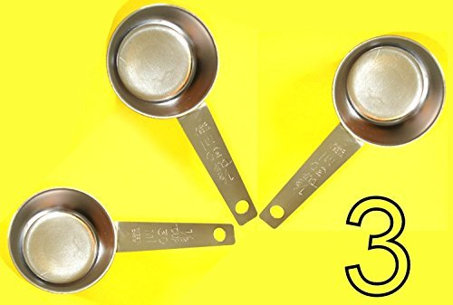 Chefs 1st Choice 3 pc COFFEE MEASURING SCOOP 1/8 CUP Stainless Steel