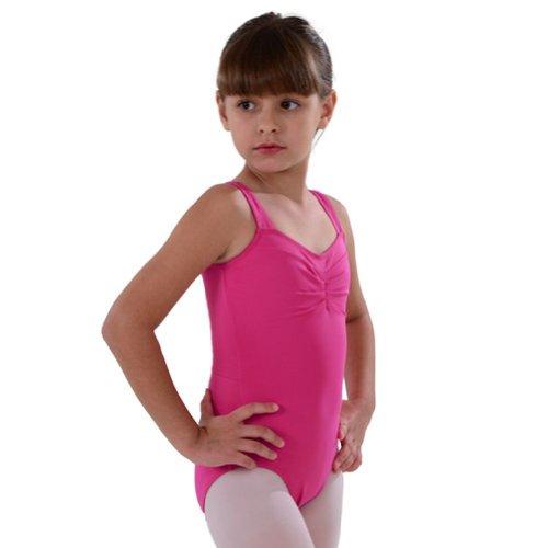 So Danca Little Girls 6X-7 Dark Pink Pinched Neckline Dance Leotard - Pinched Neckline Dance Leotard