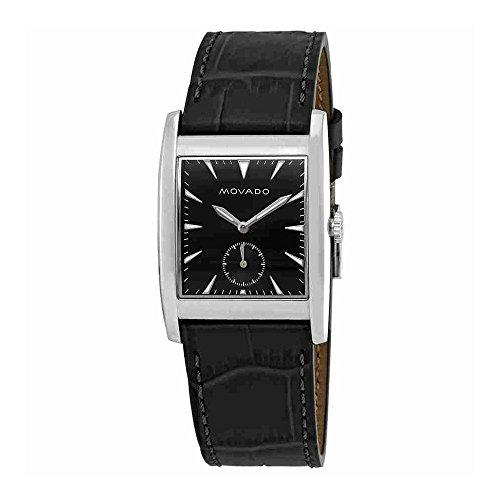 Men's Heritage Black Leather Band Steel Case Sapphire Crystal Swiss Quartz Analog Watch - Movado 3650048
