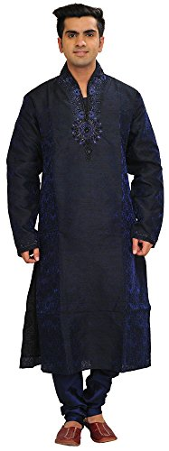 Exotic India Patriot-Blue Self Weave Wedding Kurta Paja Size 42 by Exotic India
