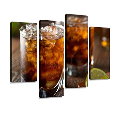Rum and Cola Cuba Libre Canvas Wall Art Hanging Paintings Modern Artwork Abstract Picture Prints Home Decoration Gift Unique Designed Framed 4 Panel