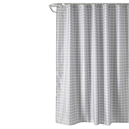Sfoothome Square Pattern Hotel Fabric Shower Curtain Waterproof Bath Curtains Heavy Weight, 72inchx78inch,Gray