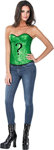 Secret Wishes DC Comics Justice League Superhero Style Adult Corset Top with Logo Sequined The Riddler, Green, -