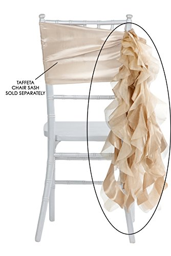 "Curly Willow Chair Sash Material: Taffeta & Organza Approx. 29"" long & 14 strands - Champagne (new design), 1 Pk"