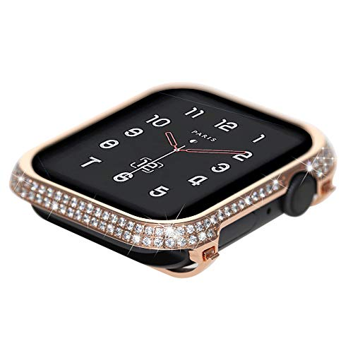 Coobes Compatible with Apple Watch Case 40mm 44mm, Metal Bumper Protective Cover Women Bling Diamond Crystal Rhinestone Shiny Compatible iWatch Series 4 (Diamond-Upgraded Rose Gold S4, 40mm) Design Rhinestone Protector Case