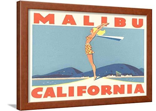 ArtEdge Stretching Girl, Malibu, California Brown Wall Art Framed Print, 18x24 in