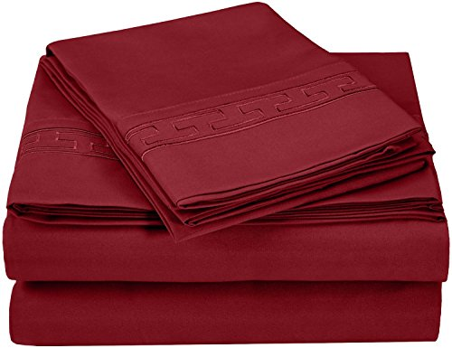 Superior Regal Greek Key Embroidered Sheets, Luxurious Silky