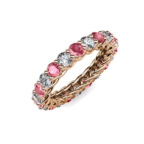 Gallery Pink Tourmaline - TriJewels Pink Tourmaline and Diamond 3.4mm Gallery Eternity Band 2.76 to 3.19 ctw 14K Rose Gold.size 6.75