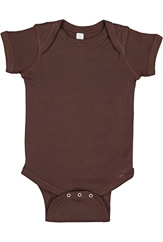 Rabbit Skins Infant 100% Cotton Baby Rib Lap Shoulder Short Sleeve Bodysuit (Brown, 6 Months)