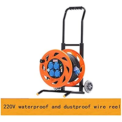 LIFEIYAN Retractable Extension Cord Reel Master Plug Four Socket Medium Open Cable Reel Extension Lead With Handle  80-200M 220V 13A Cord Reel  Orange  British American European Standard  extension