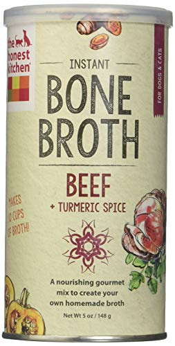Honest Kitchen The Beef Bone Broth: Natural Human Grade Functional Liquid Treat With Turmeric Spice For Dogs & Cats, 5 Oz (Pack Of 2)