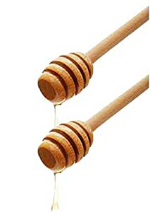Honey Dipper Set of 2 Wood Stick Server for Honey Jar Dispense Drizzle Honey New