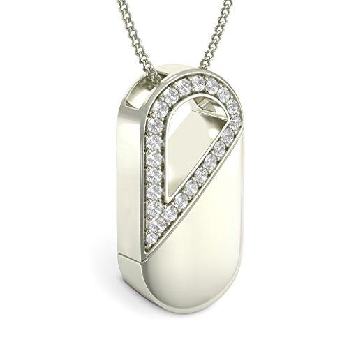 Or blanc 14K 0,88CT TW Round-cut-diamond (IJ | SI) Amour Pendentif