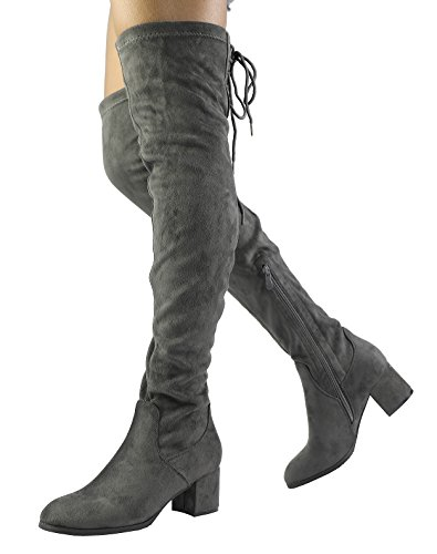Dream Pairs Women's Laurence Grey Over The Knee Thigh High Boots - 8.5 M US