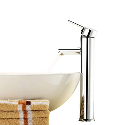 Zingcord Single Lead Free Handle Contemporary Bathroom Lavatory Vanity Vessel Sink Faucet Chrome Tall Spout Mixer Taps Plumbing Fixtures Single Hole Bowl Sink