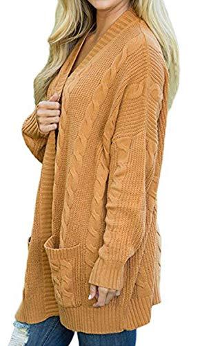 Outerwear Maniche Donna Relaxed Giacca Fashion Tasche Lunga Eleganti Con Maglia Gelb Primaverile Cappotto Forcella Autunno A Casual Lunghe Aperto Grazioso Pullover Stlie XwTFnxqB