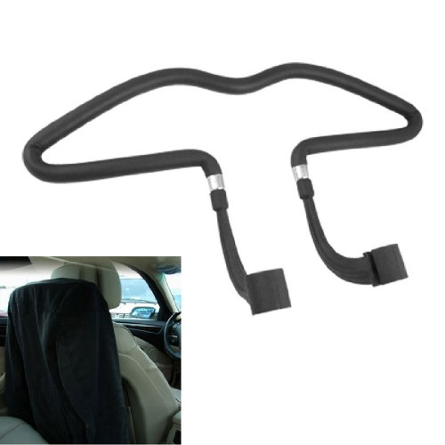 SODIAL(R) Car Auto Seat Black Rubber Coated Clothes Jacket Hanger