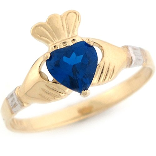 14k 2 Tone Gold Claddagh Simulated Sapphire September Birthstone Ring