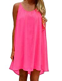 Shinekoo Women Summer Sleeveless Casual Chiffon Beach Dress Loose Sundress