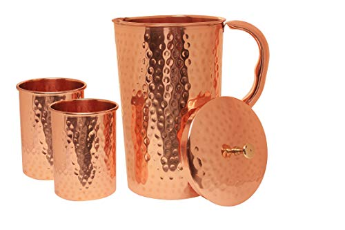 Set Jug (AVADOR Handcrafted 100% Pure Copper Jug Pitcher with 2 Glass Drinkware Hammered Finish 16 Oz. Ayurveda Health Benefit)