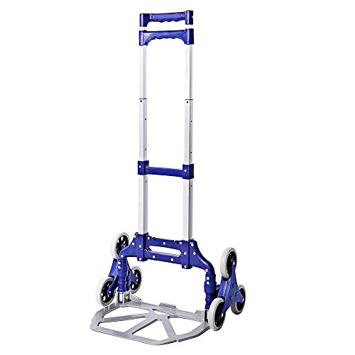 Multifunctional All-Terrain Stair Climbing Folding Hand Truck, Push Cart Collapsible Trolley Luggage Aluminum Alloy, Lightweight Portable Trolley dolly for Indoor Outdoor Travel Shopping Office by okdeals
