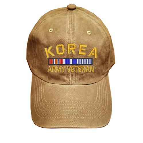 KOREA Army Veteran Military 100% Wash Cotton Hat KHAKI