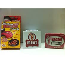 MEAT MANIAC Novelty Candy Combo Gift Pack with Sticker- Sizzling Bacon Candy & Bacon Gumballs
