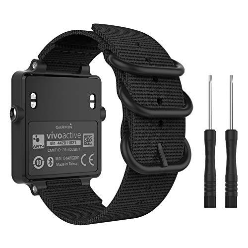 MoKo Watch Band for Garmin Vivoactive Acetate, Fine Woven Nylon Adjustable Replacement Strap for Garmin Vivoactive/Vivoactive Acetate Sports Smart Band - Black