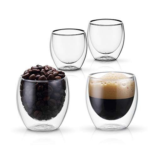 PunPun Set of 4 Insulated Coffee Shot Glasses, Espresso Glass Cups, Double Wall Clear Thermo Insulated Borosilicate Glasses,Lead Free and FDA Approved,Resistance From -20~150℃,(2.7 oz. / 80 ml) (Glasses Colored Cordial)