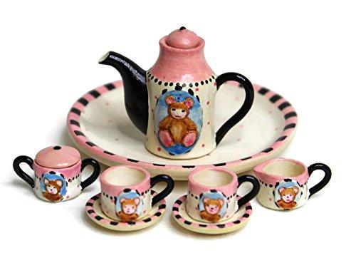 Unique Design Dollhouse Miniature Semi Matte Finish Porcelain Tea Set, 10 pcs Set, Little Bear Design, Hand-Painted, Miniature Fairy Garden Accessories, DIY Charm Pendant, Jewelry-Making Supplies. from Hands & Hearts