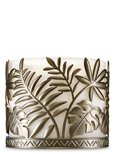 Bath Body Works 3 Wick Candle Sleeve Holder Bronzed Palm Leaves (Candle Holder Sleeve)