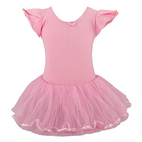 Jane Shine Girl Ballet Skirted Leotard, Butterfly Sleeve Ballet Cotton Dress with Fluffy Tutu for Babies& Girls