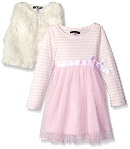 Kensie Little Girls' Toddler Fancy Jersey and Tulle Dress with Faux Fur Vest, Vanilla, 4T (Toddler Fancy Dress)