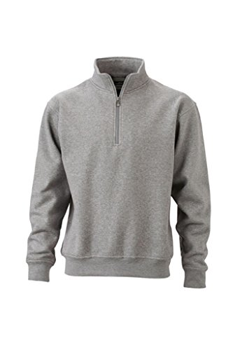 James Nicholson Zip Col Avec Sweat shirt Montant Chiné Et amp; Gris ar8qFa