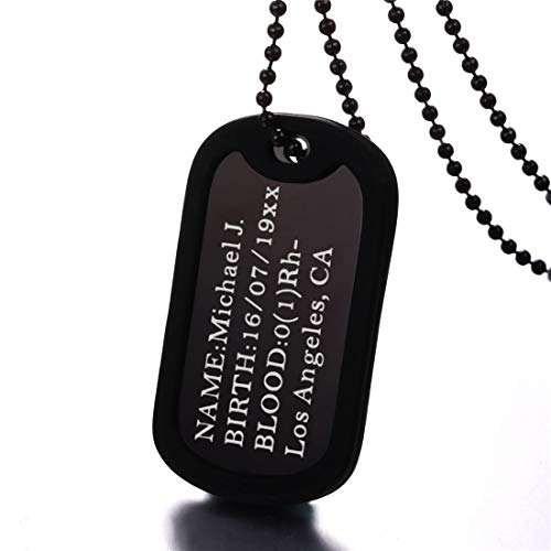 (U7 Custom Engraved Medical Alert ID Dog Tag Pendant with Stainless Steel Chain 23