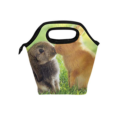 Lunch Bag Two Lovely Rabbit Womens Insulated Lunch Tote Zipper Kids Lunch Box