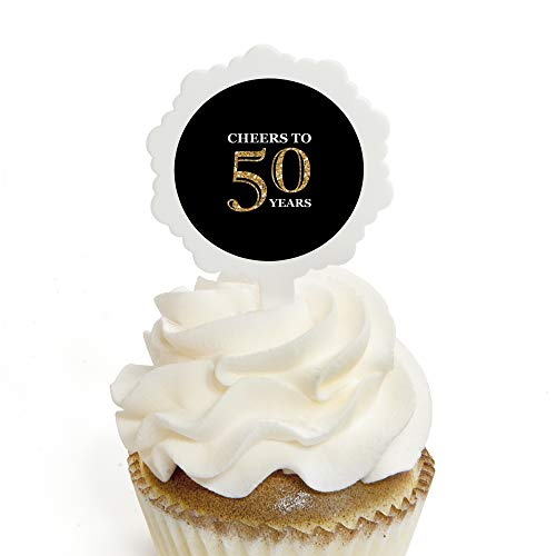 Adult 50th Birthday - Gold - Cupcake Picks with Stickers - Birthday Party Cupcake Toppers - 12 Count