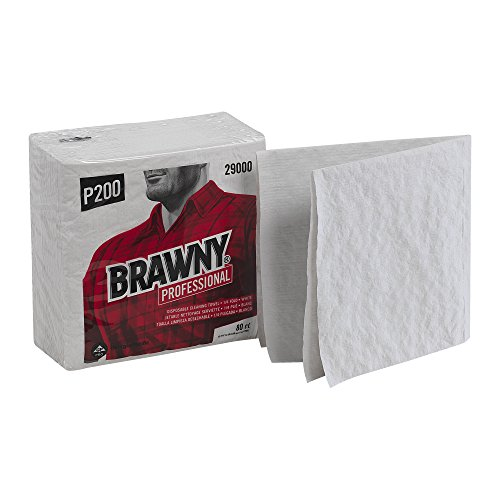 P200 Disposable Cleaning Towel by GP PRO, 29000, Light Duty Scrim-Reinforced, 1/4 Fold, White, 12 Poly Packs @ 80 Count ()