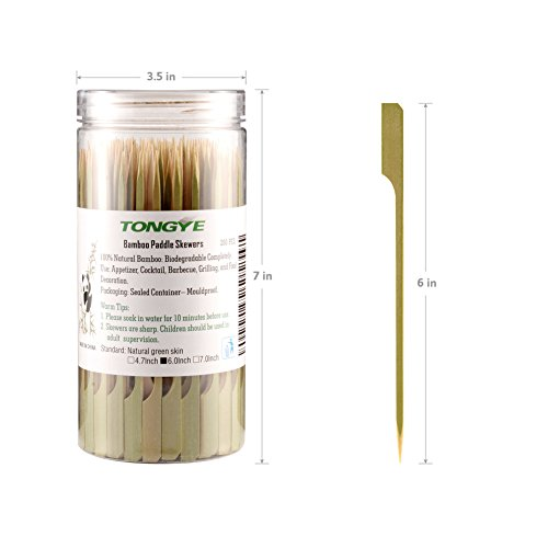 Bamboo Paddle Skewers 6 Inch with Clear Cylinder, Food Grade Cocktail Picks, Barbecue Stick. Decoration for Party Food, Appetizer, Dessert, Fruit, Sausage, Burger, Prawn, Kebab. (200PCS Green Skin) by TONGYE (Image #2)