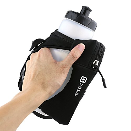 Gear Beast Handheld Running Water Bottle [23 oz] With Clear Touchscreen Cell Phone Accessory Pouch Zippered Pocket and Card Holder Fits All Smartphones, Hydration Pack For Running Hiking Travel & More by Gear Beast (Image #1)