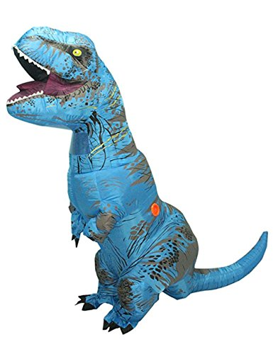 Wecloth Halloween Costume Inflatable Red Dargon Dinosaur Unicorn T-Rex Adult Colorful T Rex Jurassic Outfit (Adult, Blue)