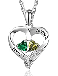 Personalized 2 Names Necklace with 2 Heart Simulated Birthstone Couple Pendant Necklace for Women