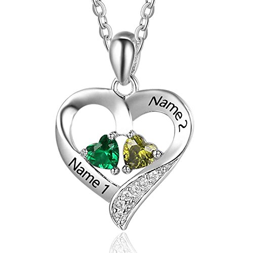 Love Jewelry Personalized 2 Names Necklace with 2 Heart Simulated Birthstone Couple Pendant Necklace for Women (Silver) ()