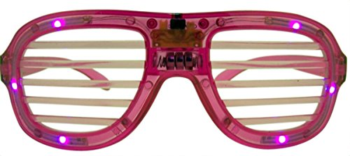 Wire Rimmed Glasses Costume (Flashing Light Up Pink Costume Shutter Glasses for Adults and Kids)