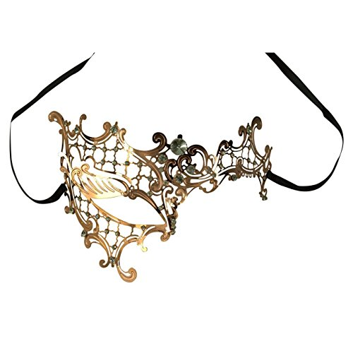 Mask - SODIAL(R) Glossy Metal Filigree Phantom Mask for Venetian Masquerade Gold+White (Venetian Eye Mask)