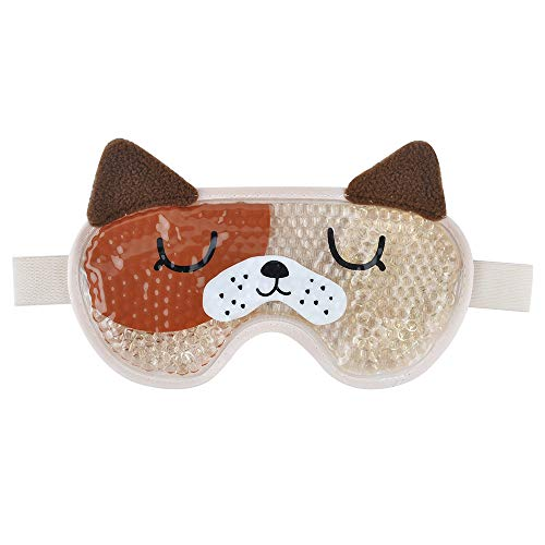 Eye Cooling Mask Gel Bead Eye Mask Reusable Cute Eye Mask with Soft Plush, Gel Sleep Mask Cold Therapy for Women and Men - Dog