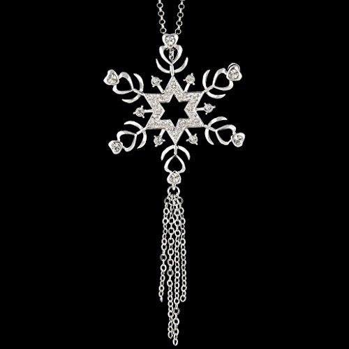Ever Faith - Cristal Autrichien étoile Flocon de Neige gland chandail chaîne collier Plaqué Argent Transparent N05014-1